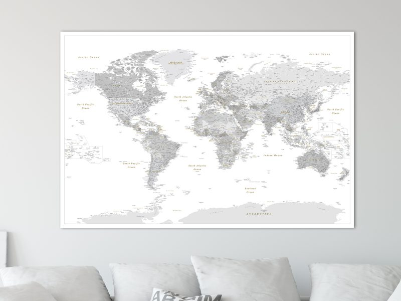 push pin world map detailed grey white