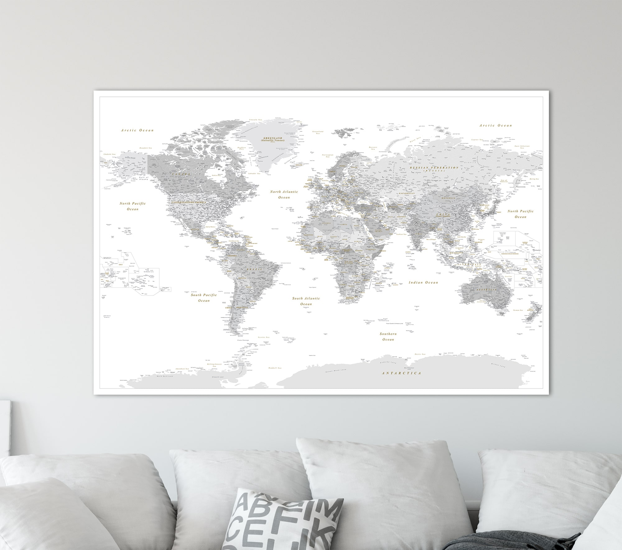 World push pin map grey detailed push pin travel maps push gumiabroncs Gallery