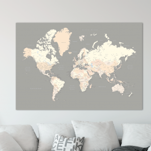 World travel map pin board with push pins blue push pin travel maps push pin world map grey cream gumiabroncs Images
