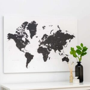 black and white world map pinboard canvas tripmap