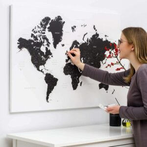 black and white world map with pins tripmap