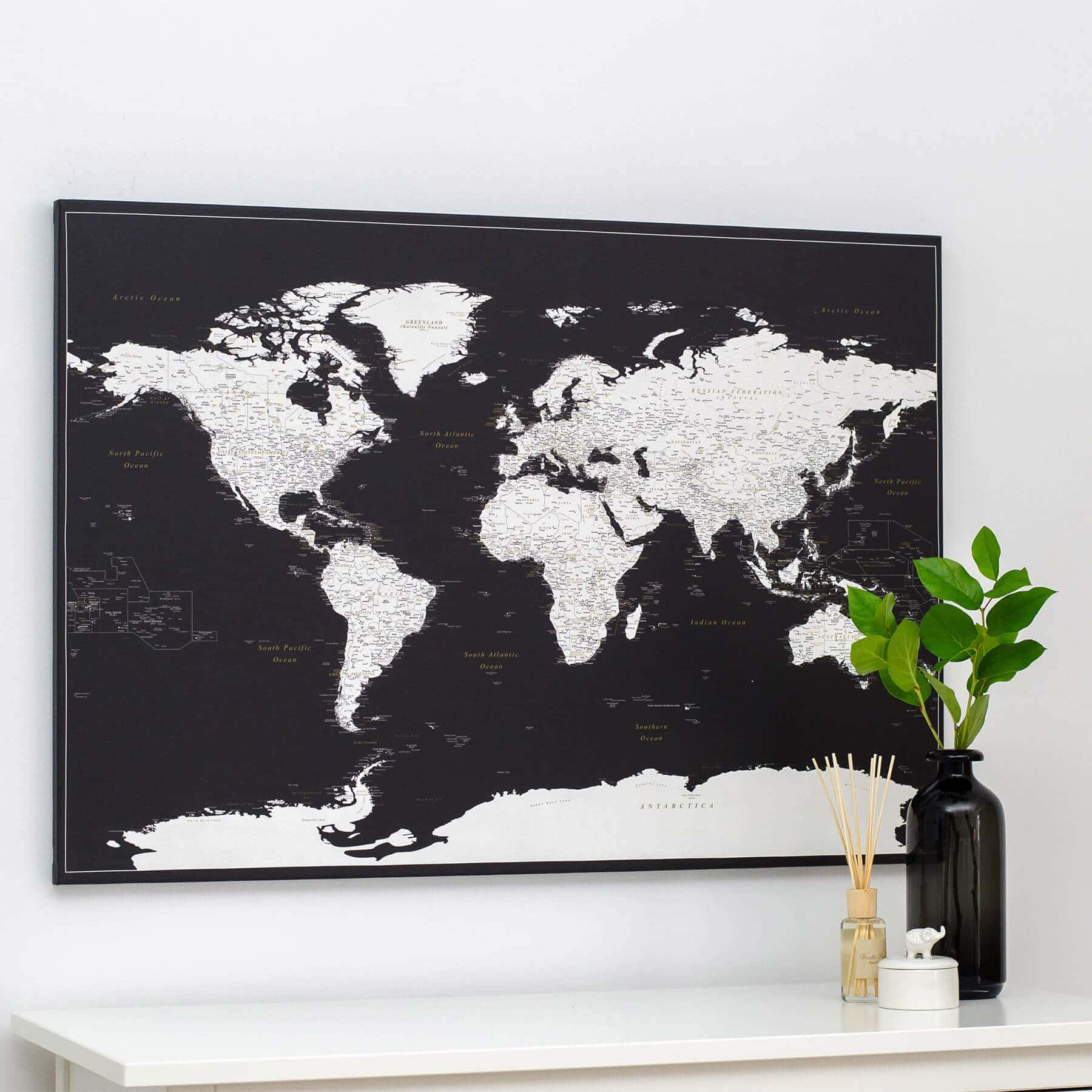 World Push Pin Map - Modern Black (Detailed) - Push Pin Travel Maps