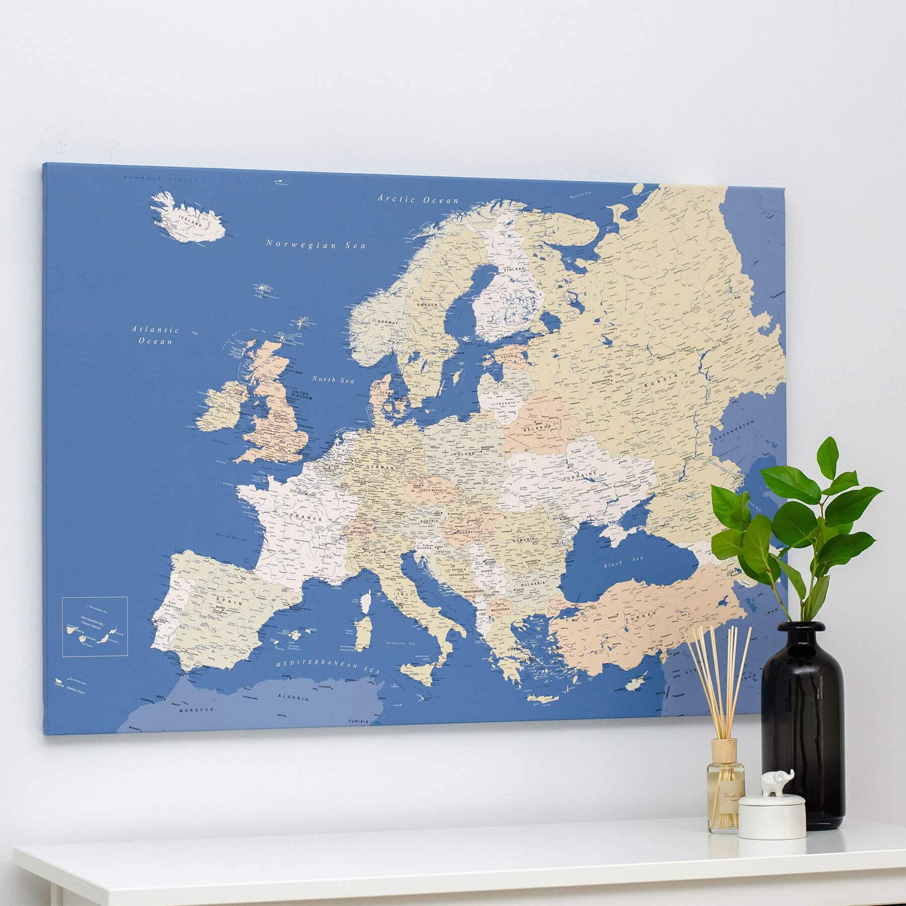 Europe Push Pin Map - Blue (Detailed) on earth map canvas, old world map canvas, map wall art, ikea world map canvas, united states map canvas,