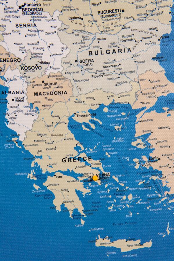 blue push pin europe map