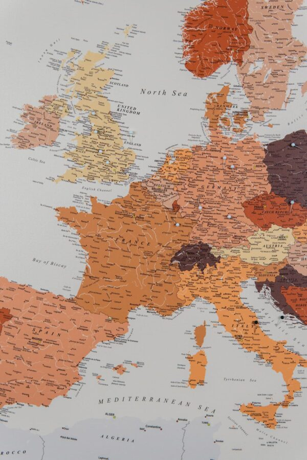 brown europe detailed map to pin places visited