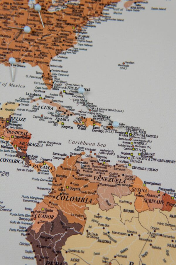 brown push pin world map central america