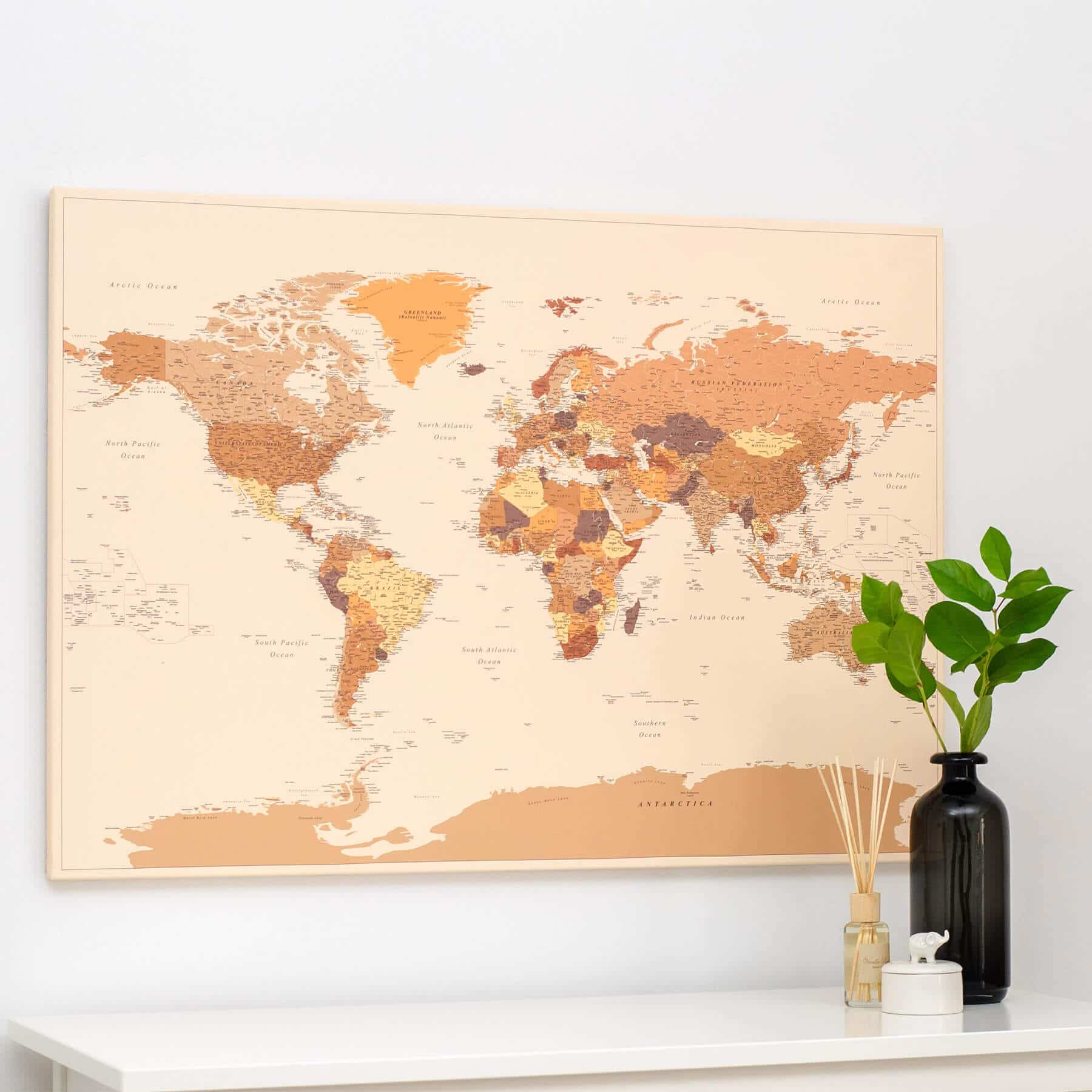 Map Of The World Com.World Push Pin Map Brown Detailed