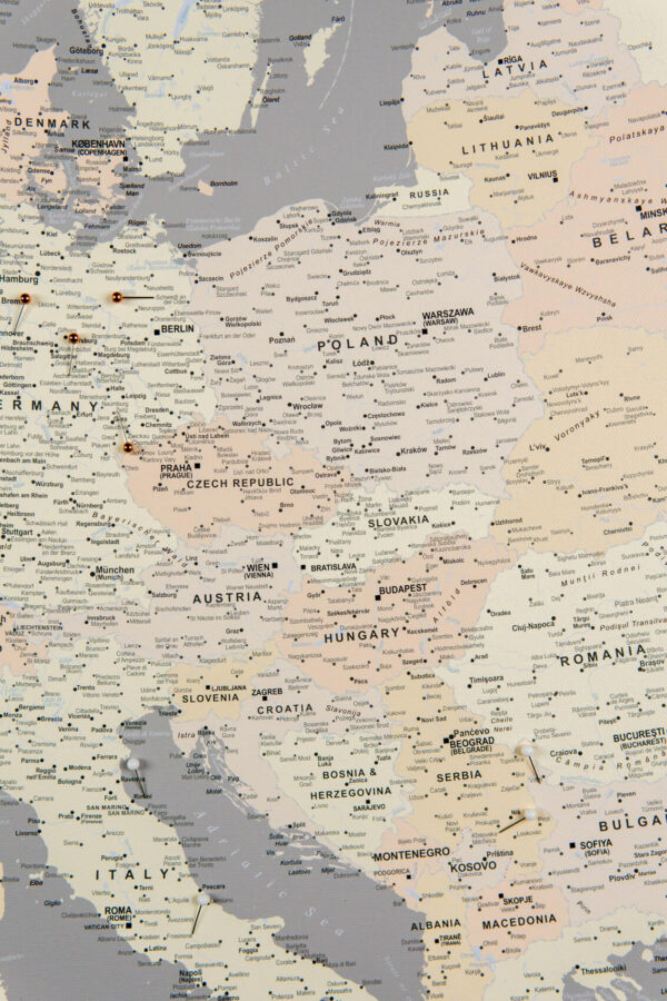 central europe map on canvas with pins grey