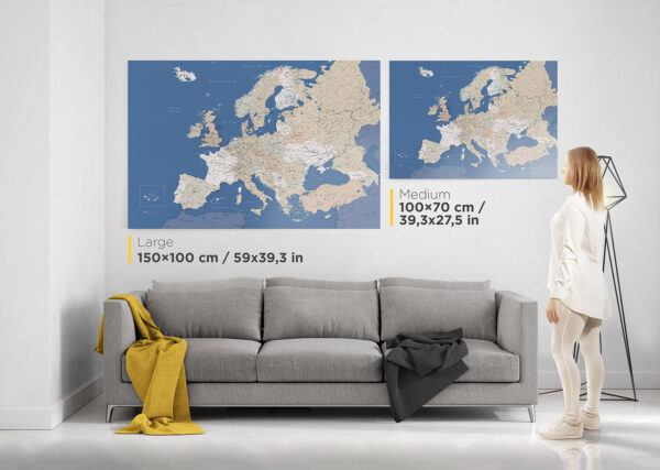 detailed europe map with pins tripmap