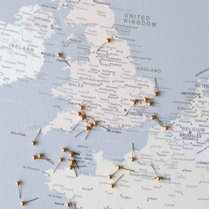 europe map pin board with pins grey