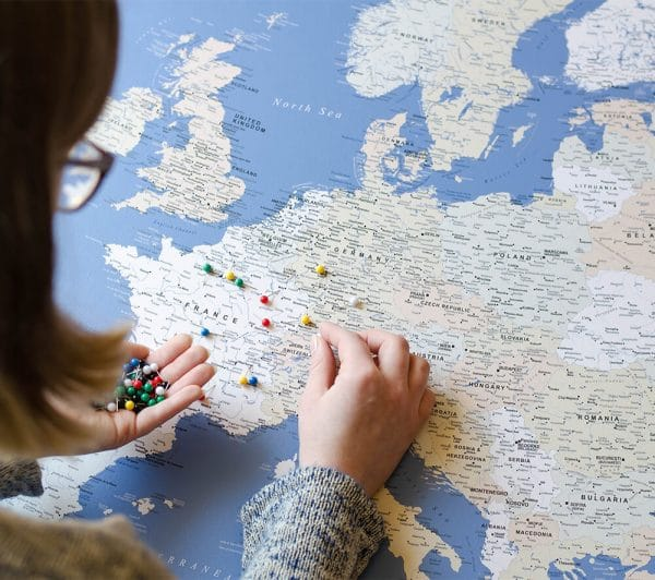 europe pin board canvas with pins