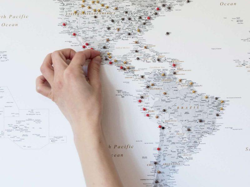 grey travel map push pin tripmap