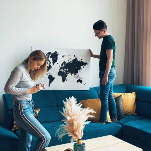 modern world map canvas wall art