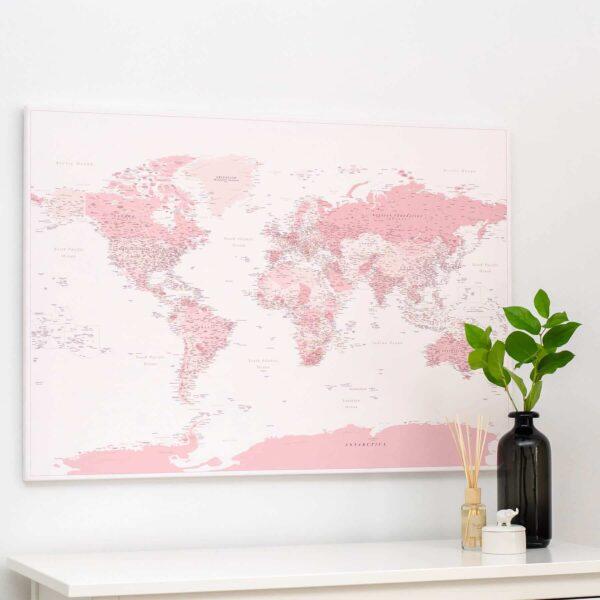 pink world map canvas art trip map