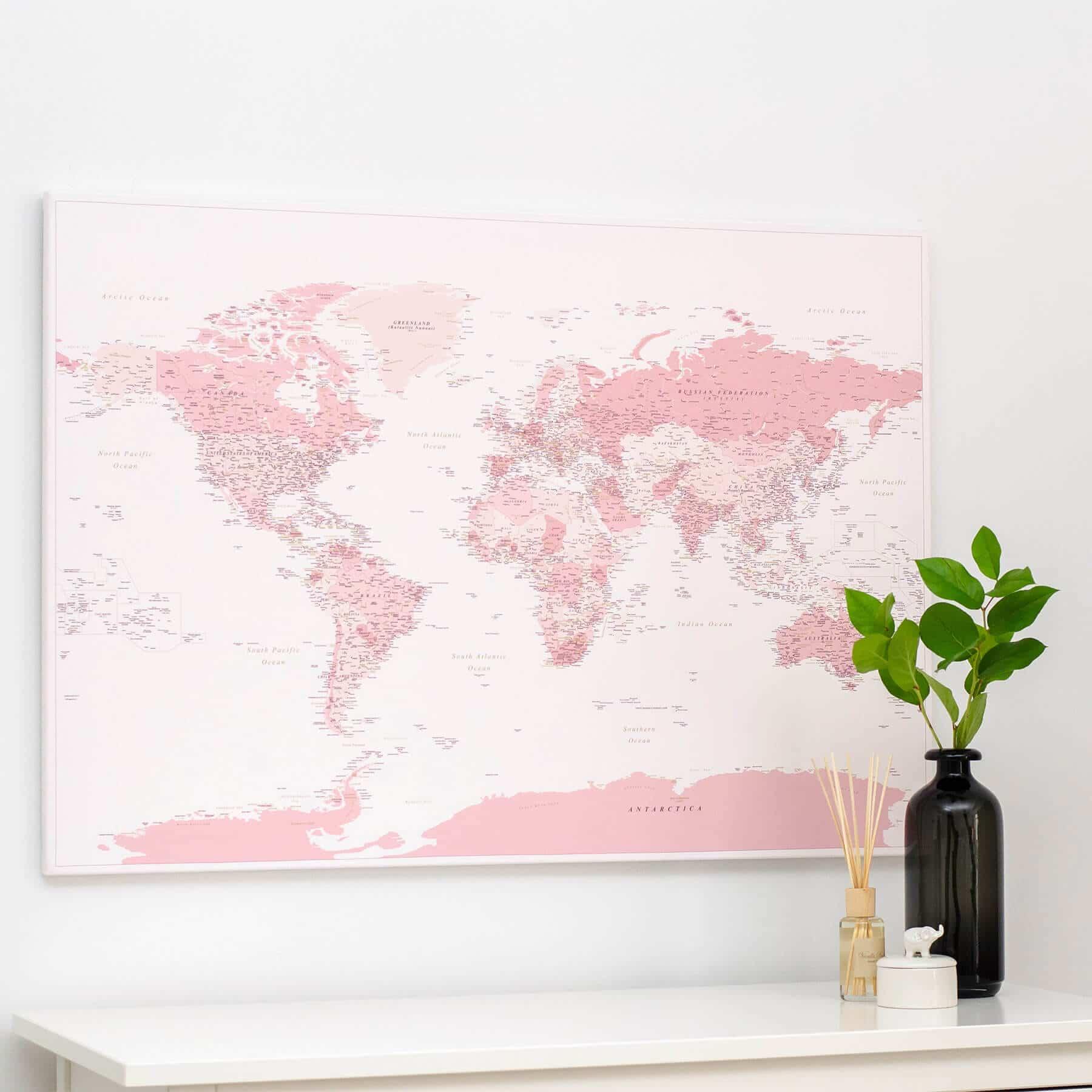 World Push Pin Map - Pink (Detailed) - Push Pin Travel Maps