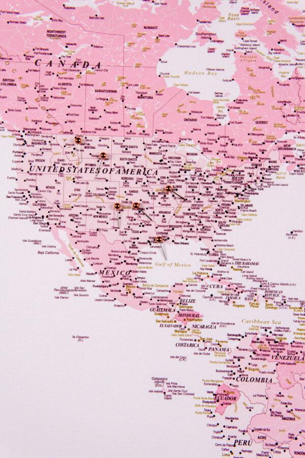 pink world map wall art usa