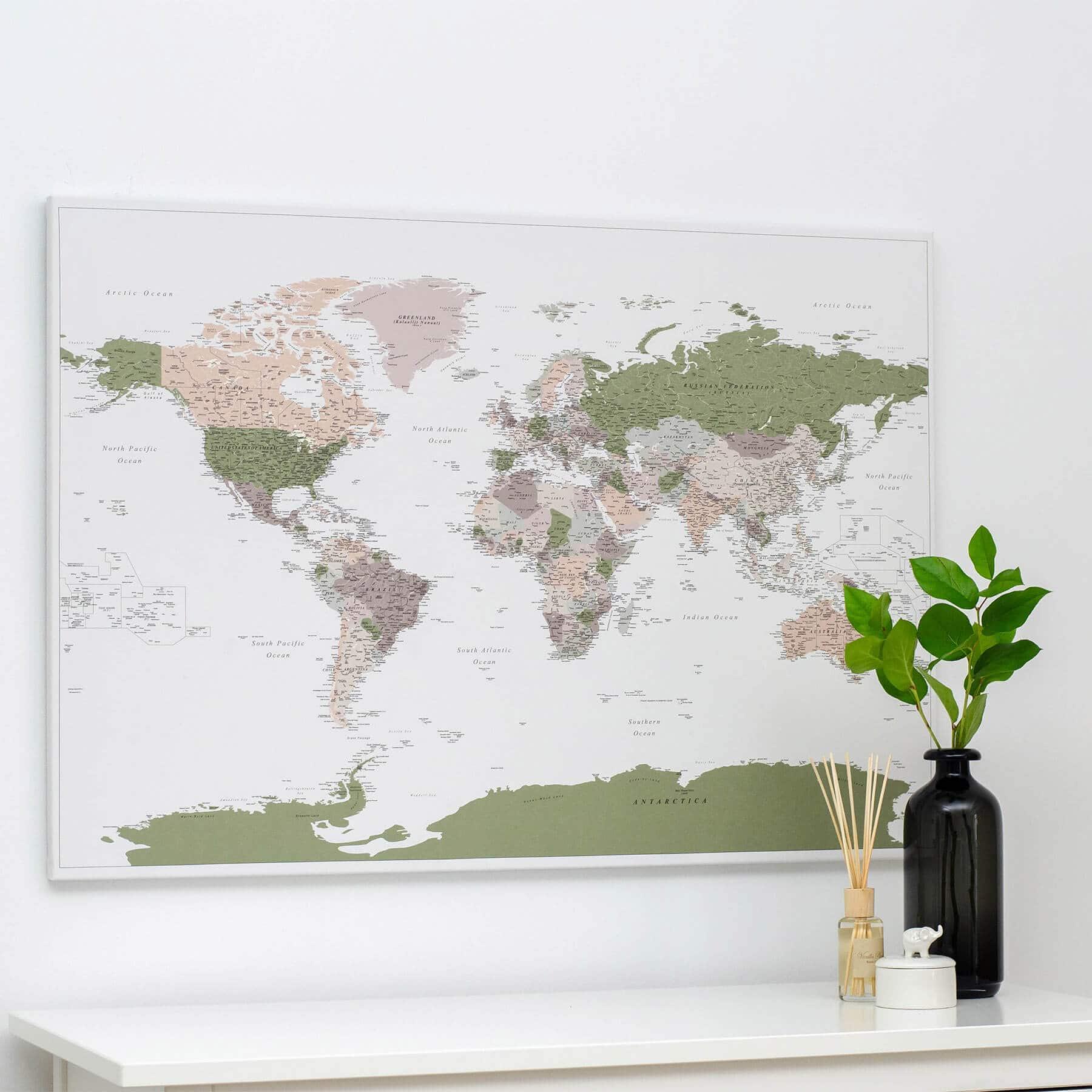 World Push Pin Map - Green / violet (Detailed) - Push Pin Travel Maps