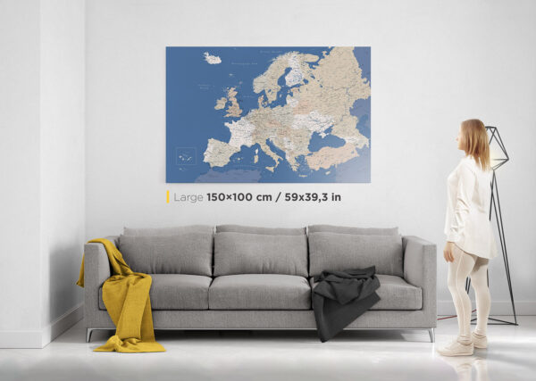 push pin europe map with pins