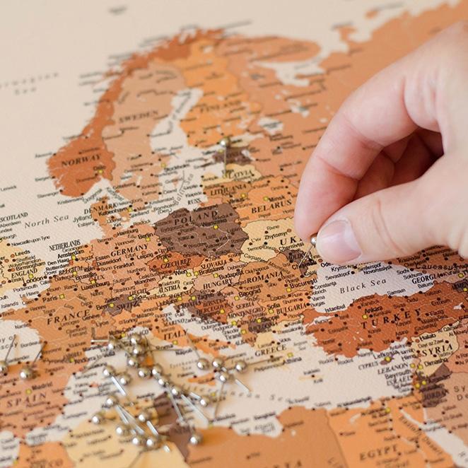 World Push Pin Map - Brown (Detailed) - Push Pin Travel Maps  Pushpin Map