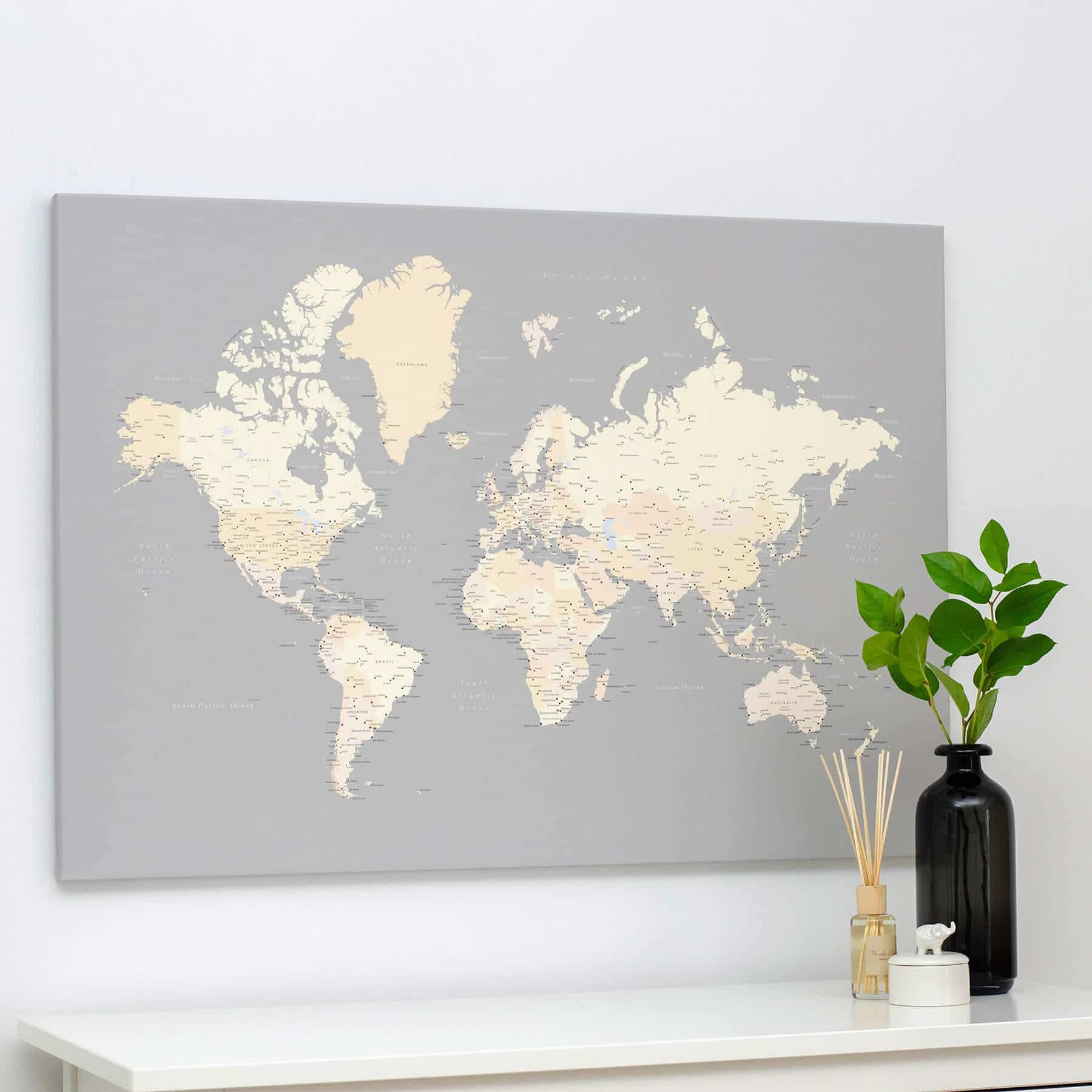 World Push Pin Map - Grey/Cream - Push Pin Travel Maps