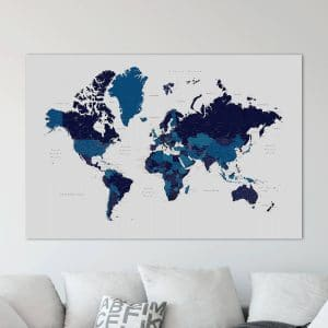 Push Pin World Travel Map With Pins Navy Blue