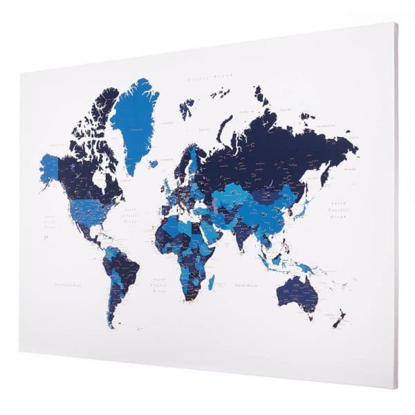push pin world map navy blue trip map