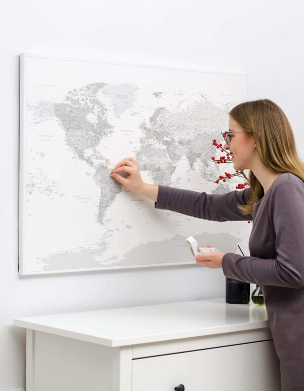 scandiniavian push pin world map grey color