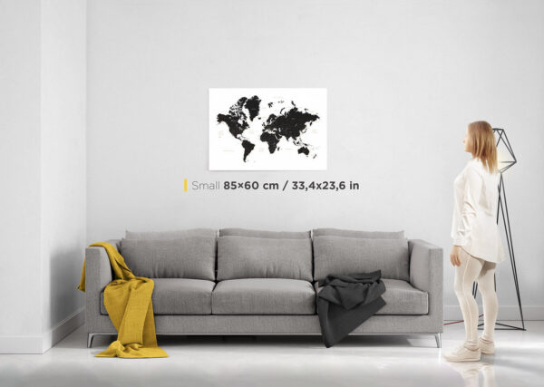 small world map on canvas black and white