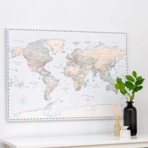 vintage push pin world map canvas print tripmap