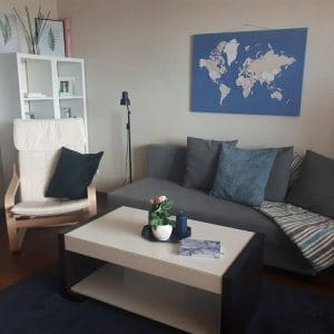 worl map pin board in living room