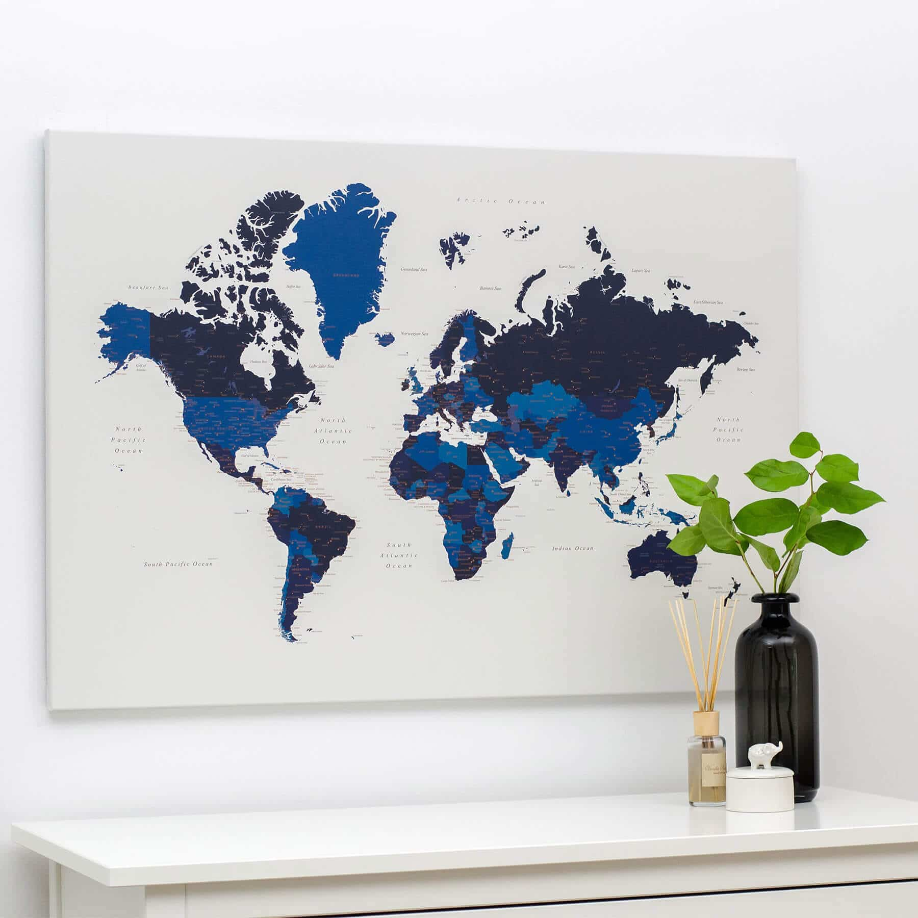 Push Pin World Travel Map with Pins - Navy Blue - Push Pin Travel Maps