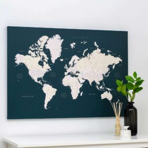 world map canvas pinboard with pin dark green tripmap