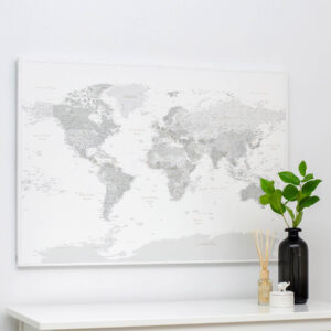 world map canvas with pins grey tripmap