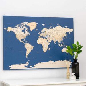 world map dark blue canvas poster tripmap