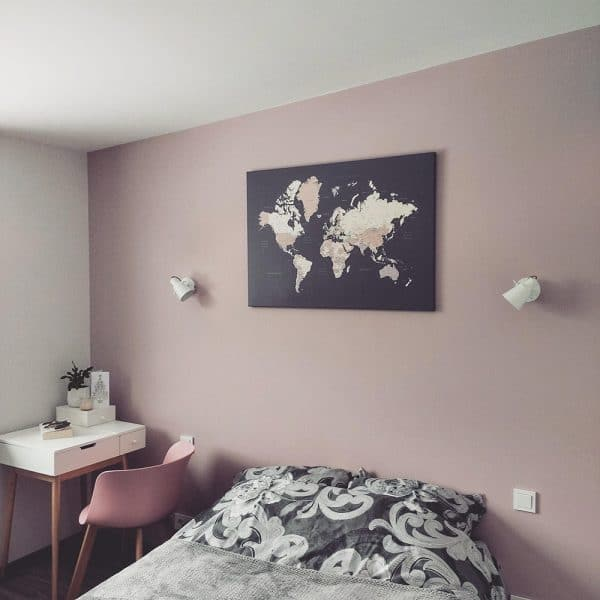world map in bedroom