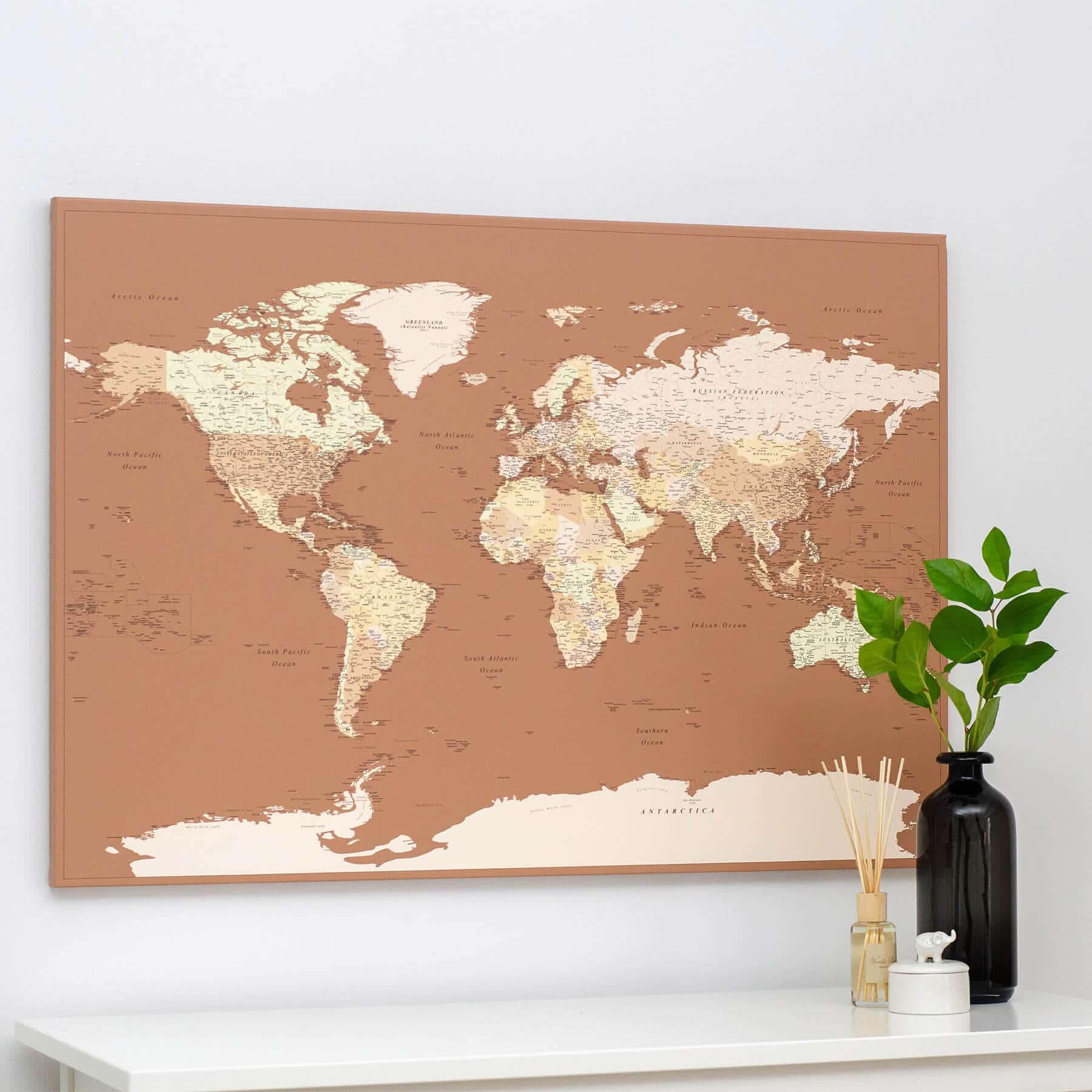 World Push Pin Map - Brown / beige (Detailed) - Push Pin Travel Maps