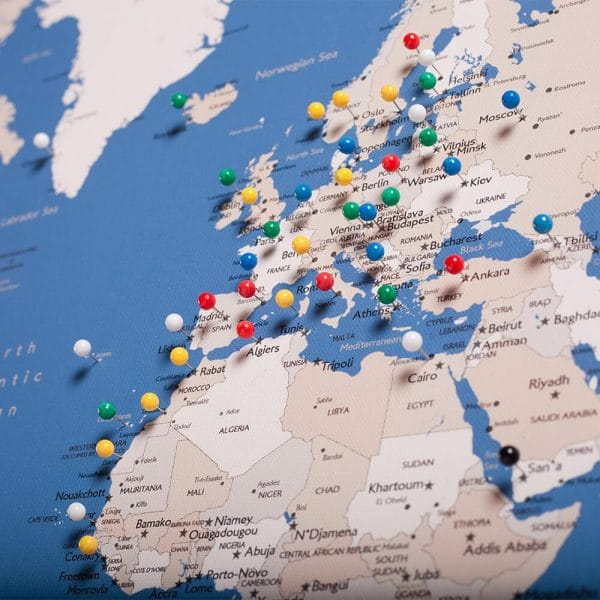 world map with pins blue tripmap