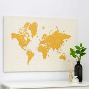 yellow world map pinboard canvas trip map