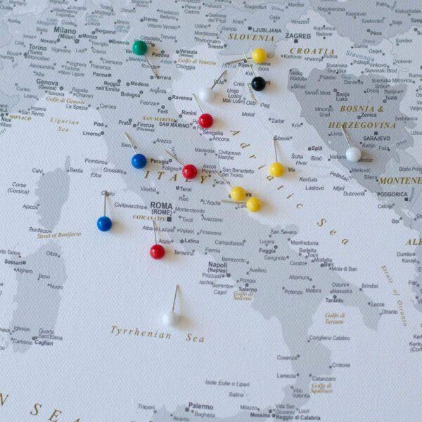 european map canvas art push pin