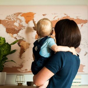family travel push pin travel map