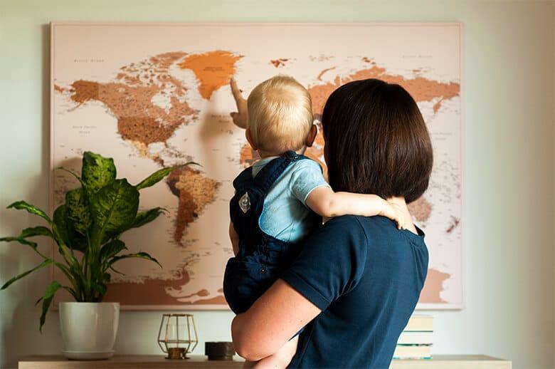 family travel push pin travel map