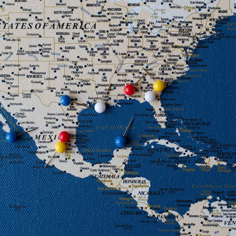 World Push Pin Map - Dark blue (Detailed) - Push Pin ...  Pushpin Map