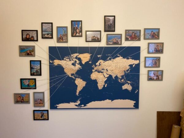navy blue map for traveler places visited