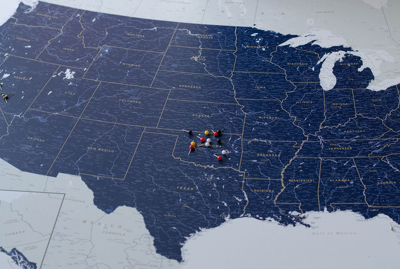 usa push pin travel map navy blue detailed push pin travel maps