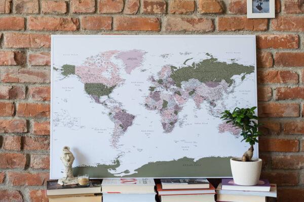 detailed world map pin board green