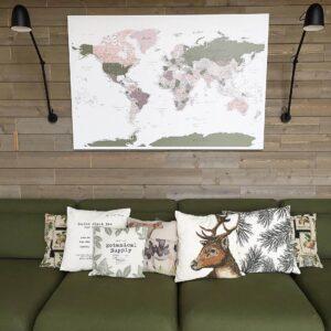 green violet push pin world map wall interior