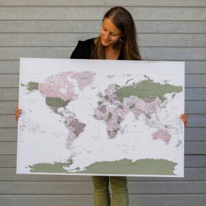 large world map wall art green