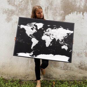 black world map pin board
