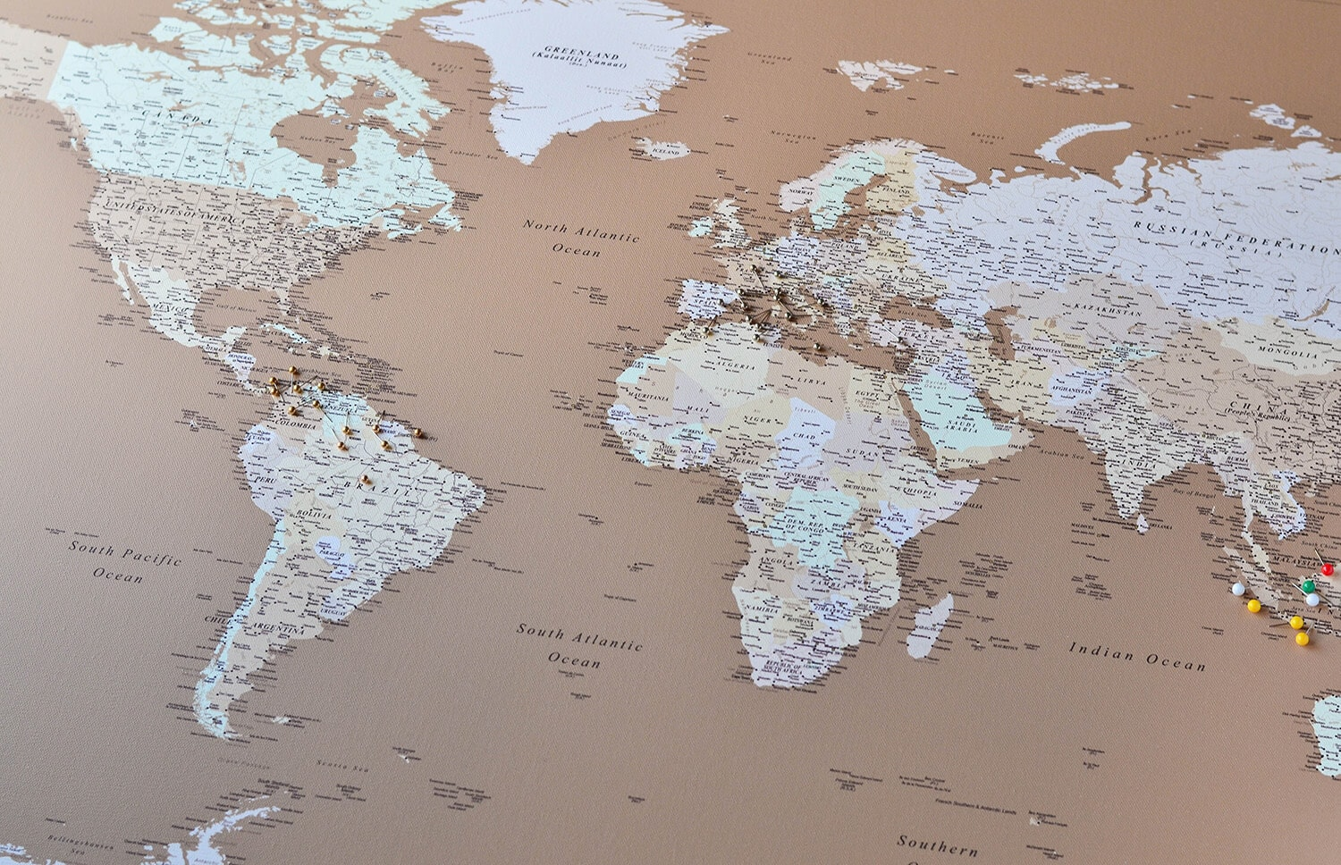 brown color world map with pins