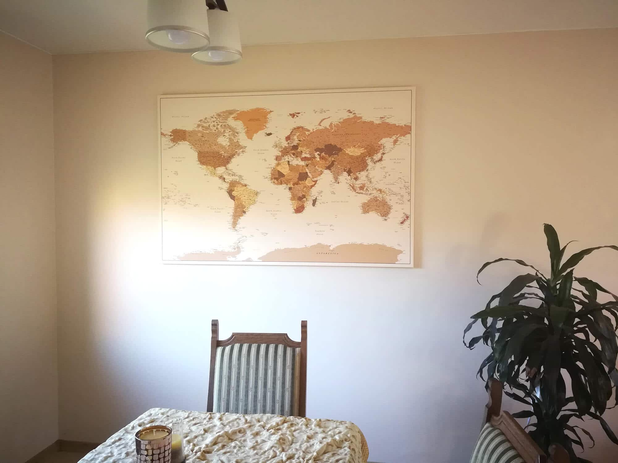 brown world map with pins detailed
